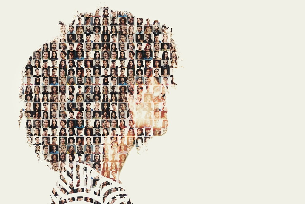 Composite image of a diverse group of people superimposed on a woman's profile